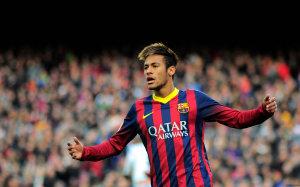 Neymar Barcelona arms wide