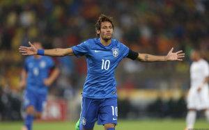 Neymar Brazil blue jersey celebrating