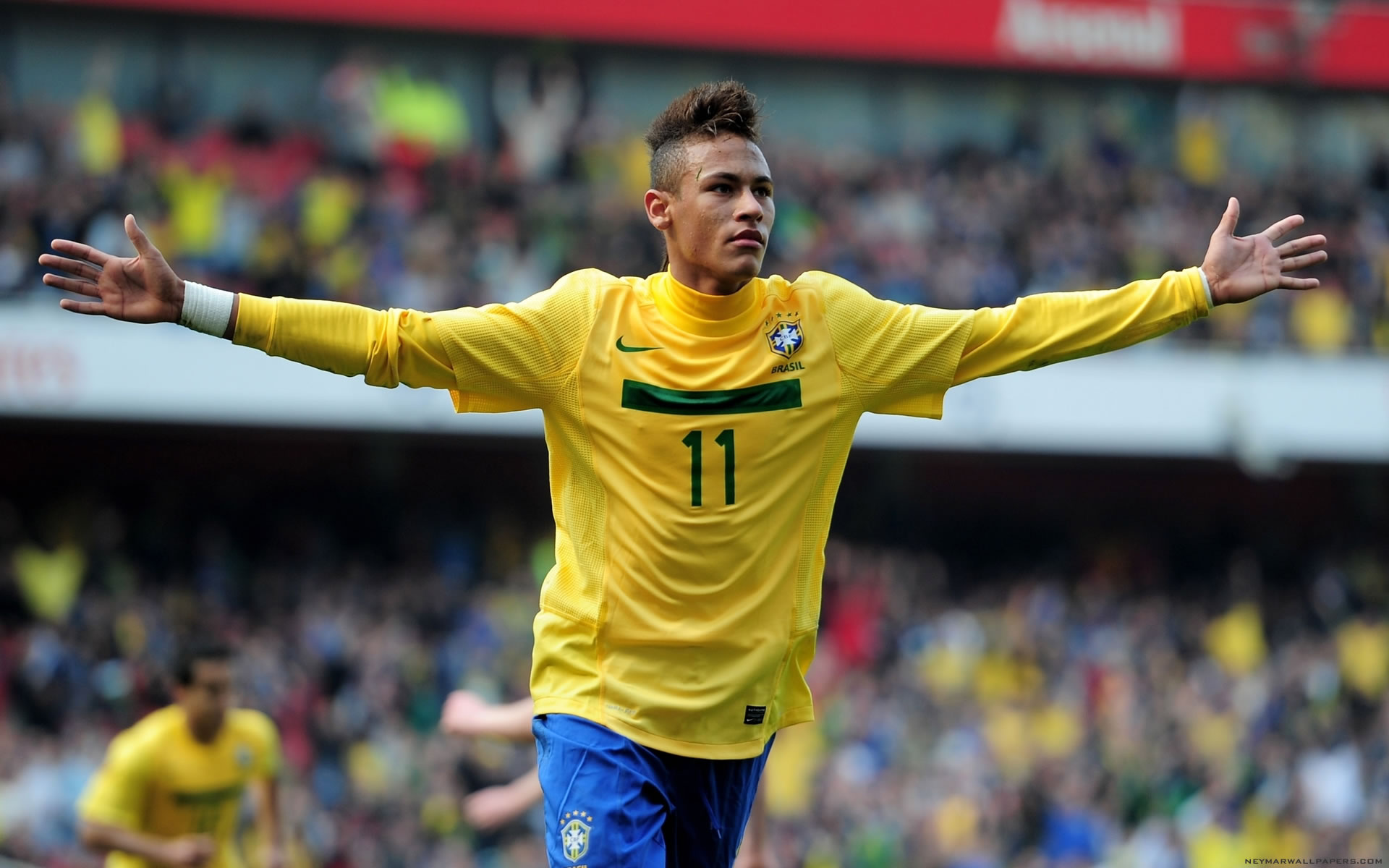 Neymar Brazil celebratory run wallpaper