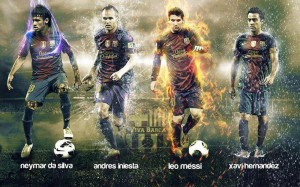 Neymar, Iniesta, Messi, and Hernandez wallpaper