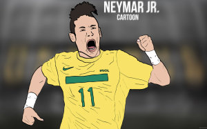 Neymar Jr cartoon wallpaper by Bluezest1997