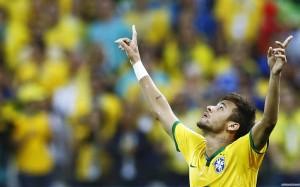 Neymar arms up wallpaper