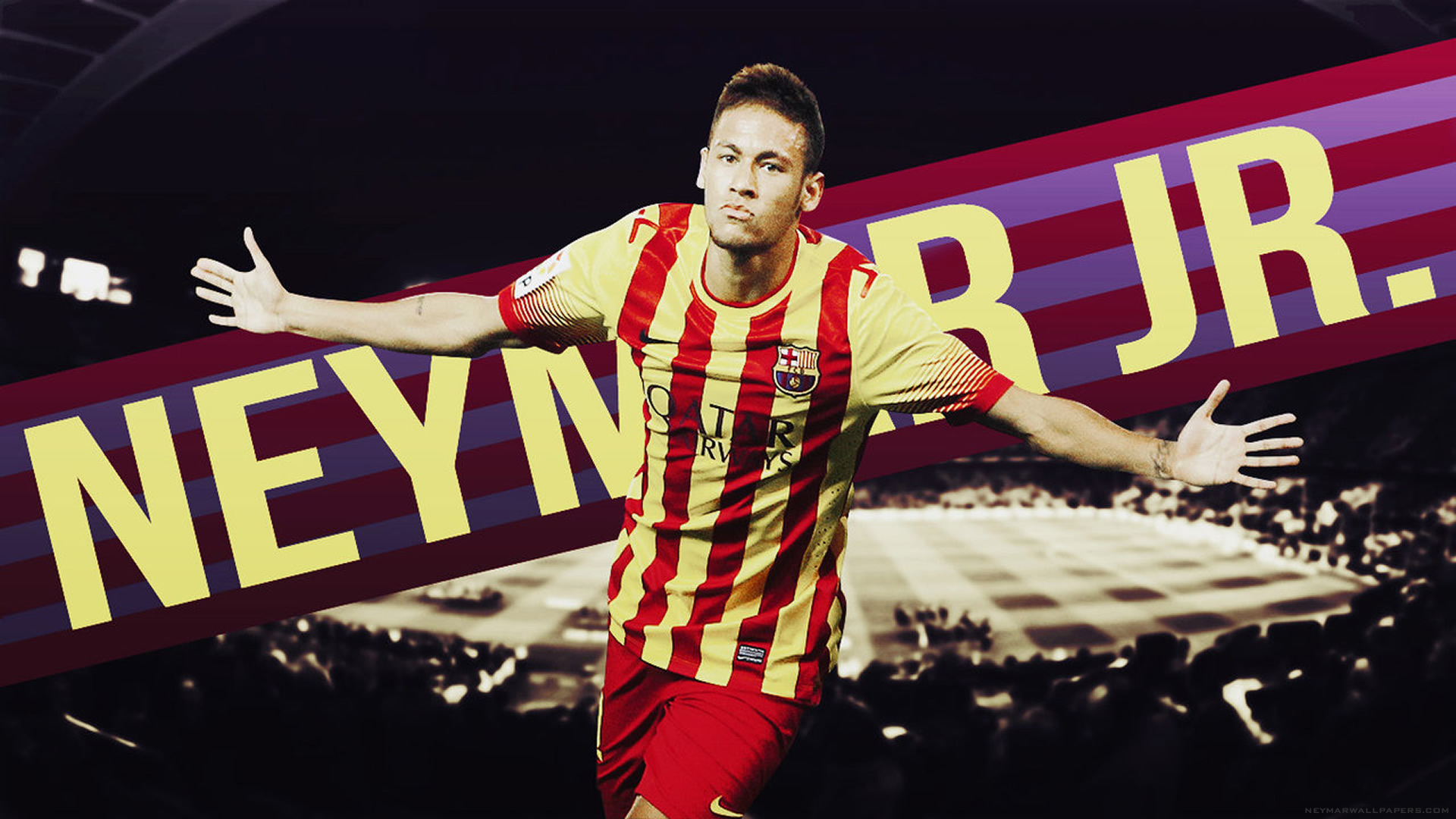 Neymar arms wide wallpaper