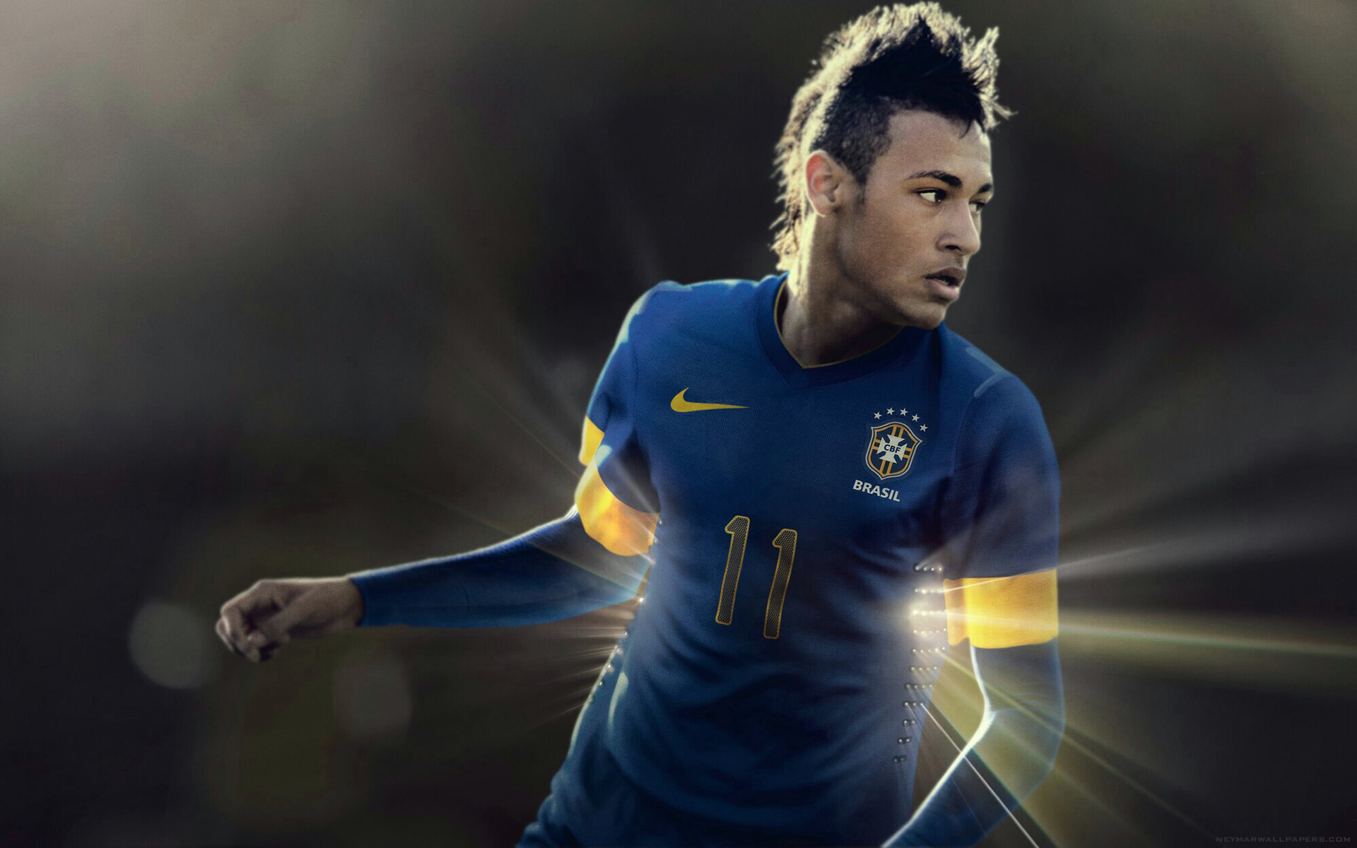 Neymar blue Brazil jersey wallpaper (2)