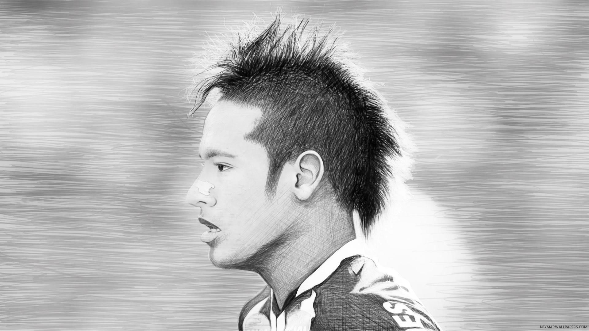 Neymar head sketch wallpaper