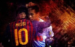 Neymar hugging Messi wallpaper
