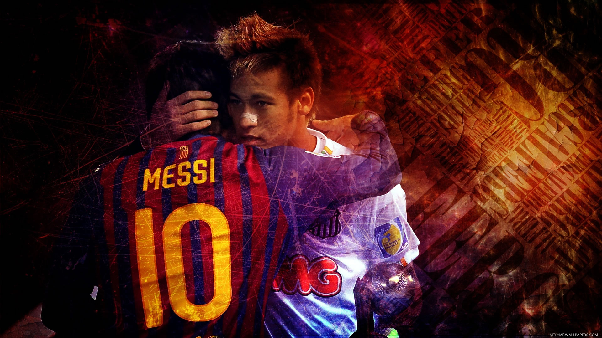 Neymar hugging Messi wallpaper