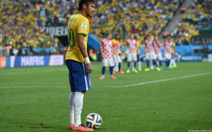 Neymar in Brazil vs Croatia World Cup 2014