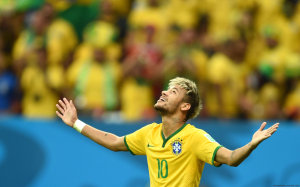 Neymar looks to sky after scoring