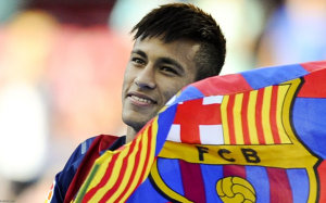Neymar with Barcelona flag