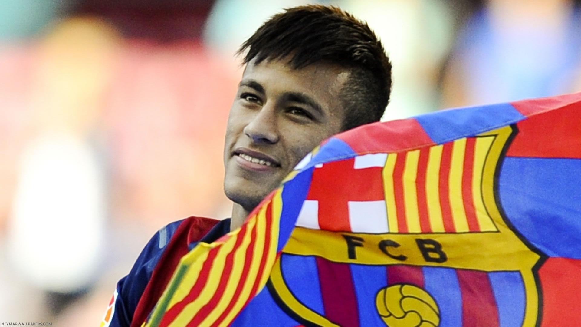 Neymar with Barcelona flag