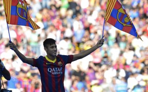Neymar with Barcelona flags wallpaper