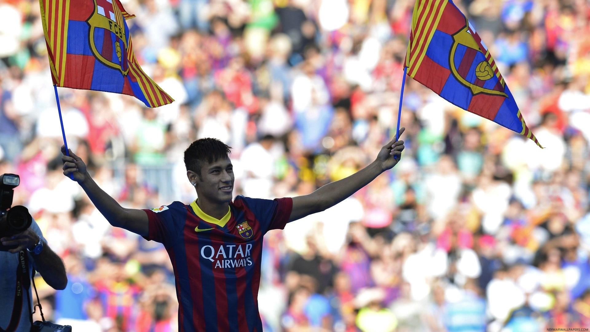 Neymar with Barcelona flags wallpaper