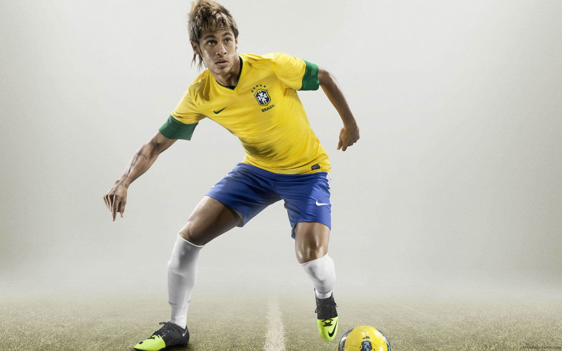 Neymar with football wallpaper