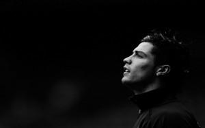 Cristiano Ronaldo's Head black and white wallpaper