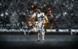 Cristiano Ronaldo preparing to strike wallpaper