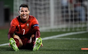 Cristiano Ronaldo smiling in Portugal jersey wallpaper