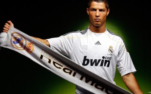 Cristiano Ronaldo with Real Madrid scarf wallpaper