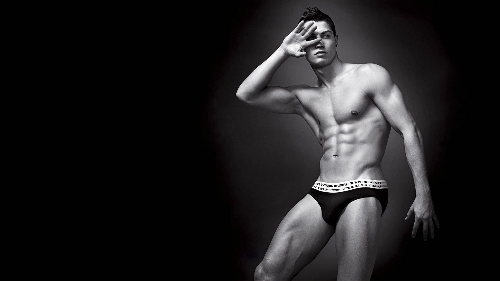 Hot naked Cristiano Ronaldo Armani wallpaper